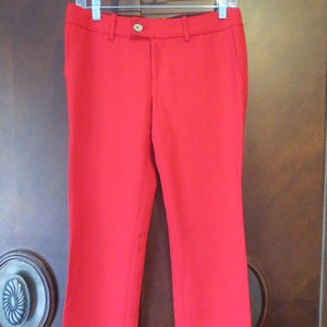 STEPHANE DOU Red Tailored Straight Career Pants 38